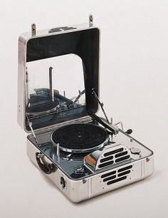 """""""RCA Victor Special"""" portable phonograph, model M, John Vassos; Manufacturer: RCA Victor Manufacturing Co. ^ Minneapolis Institute of Art Lps, Radios, Platine Vinyle Thorens, Vintage Designs, Retro Vintage, Cassette Vhs, Portable Record Player, Record Players, Vintage Records"""