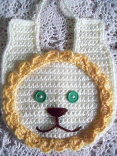 Free Shipping Dates: FEB 16th through FEB 28th USE COUPON CODE: EBStork14 at checkout. ********** Sweetest Hand Crochet  LION BABY BIB  Baby by BellaEarthAndSea, $10.00