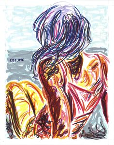 """Arianna che guarda"", watercolor marking pen, 140lb/300gsm - 28x35.6cm paper, 2016 author: ernesto maria giuffre' #painting #pen #art #woman #back #sitting"