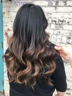 Caramel balayage with dark brunette roots by @amy_ziegler