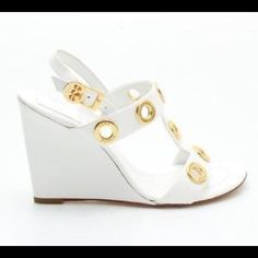 """Tory Burch wedges Approximate 3"""" wedge with gold ring detailing. Material is patent. Tory Burch Shoes Wedges"""