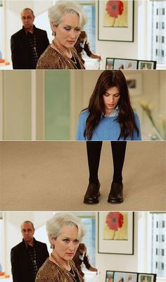 Miranda gives one of her disapproving stares at Andie's mode of dress in 'The Devil Wears Prada'