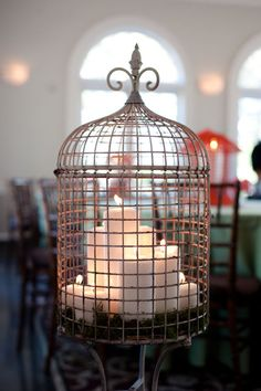 Wedding by Nate Henderson McFarland Fallin this would be pretty during Christmas with the bird cage you bought for your spring table. McFarland Fallin this would be pretty during Christmas with the bird cage you bought for your spring table. Bird Cages, Deco Table, Bird Houses, Vignettes, My House, Lanterns, Sweet Home, Shabby Chic, House Design
