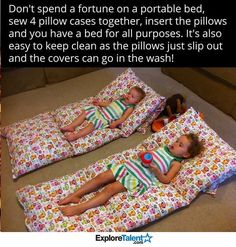 Sewing For Kids Gifts DIY your Christmas gifts this year with GLAMULET. they are compatible with Pandora bracelets. Send your kids to their next sleepover in comfort with this DIY pillow mattress. Sewing Crafts, Sewing Projects, Diy Projects, Garden Projects, Diy For Kids, Crafts For Kids, Preschool Crafts, Portable Bed, Portable Mattress