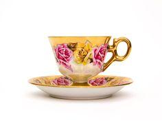 IRIDESCENT FLORAL ROYAL SEALY TEACUP AND SAUCER #royalsealy #teacup #vintageteacups