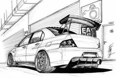 evo mitsubishi sketch cars evolution pencil drawing street lancer incredible jdm drawings coloring pages modified japanese bmw volkswagen 1979 golf