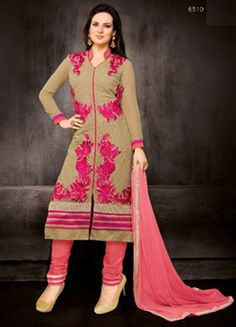 Walk with Trend! Shop online our Latest Beige Faux Georgette Churidar Kameez & Get 30% OFF