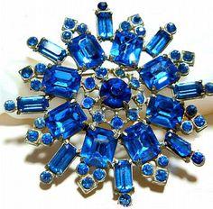 Vintage Art Deco Brooch Blue Rhinestones by BrightgemsTreasures, $34.50