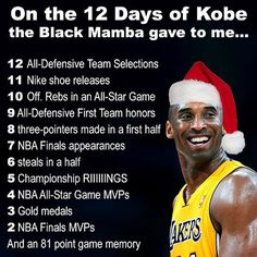 #Repost @shahinourian ・・・ This is my 12 Days of Christmas #kobebryant #blackmamba #kobe #Lakers #lakersnation #golakers #christmas #merrychristmas #xmas #nba #basketball #ballislife #legend