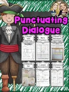 Looking for resources to help your students MASTER Quotes and Punctuating Dialogue INCLUDING ASSESSMENT? Look no further!  Heres whats included:  Lesson Notes- introducing the standard Practice  More Practice- Fun Activity Page Foldables for Readers Notebooks Readers Notebook Activities Sentence Frames- for daily practice Assessment Answer Keys Suggested Lesson Plans for Mastering Quotes and Punctuating Dialogue in one week: Day 1: Lesson Notes and Practice/ Pair Share Sentence Frames Day…