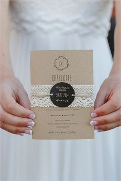 Lace Kraft Paper Wedding Invitation / http://www.deerpearlflowers.com/rustic-country-kraft-paper-wedding-ideas/