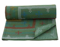 Queen Size Green Embroidered Quilt Solid Colour Kantha Bedspread