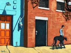 """Daily Paintworks - """"Walking Tall - woman on city street with big dog"""" - Original Fine Art for Sale - © Linda Apple"""