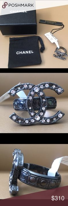 Ruthenium Crystal CC Ring Size 52 This is an authentic CHANEL Ruthenium Crystal CC Ring.   This dazzling ring is a textured ruthenium silver tone and features the Chanel CC logo set with small crystals. This is a beautiful ring that compliments any outfit with the luxurious style only from Chanel!  Includes the original box, carry pouch, and tags. CHANEL Jewelry Rings