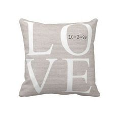 Jolie Marche Personalized LOVE Wedding Pillow Anniversary Gift Cotton and Burlap Pillow Cover Choose your Date