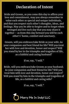 Declaration of Intent to Marry - WEDDING CEREMONY PRO