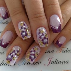 Give fashion to your fingernails using nail art designs. Donned by fashion-forward celebrities, these types of nail designs will add instant allure to your apparel. Purple Nail Art, Purple Nail Designs, Best Nail Art Designs, Cute Nails, Pretty Nails, Lavender Nails, Wedding Nails Design, Flower Nail Art, Acrylic Nail Art