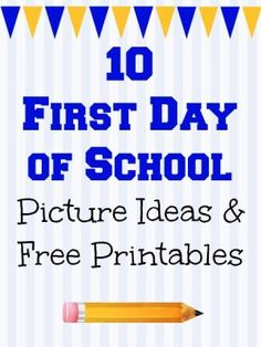 1st day of school printables