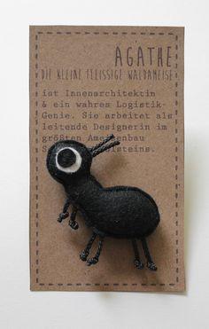 """Anstecker """"Fleißige Ameise"""" aus 100% Wollfilz / brooche """"little ant"""" made of felt by Catmade via DaWanda.com"""