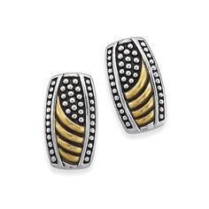 Antiqued Two-Tone Sterling Beaded Border Post Earrings - Fashion Jewelry, Sterling, Gemstones, Pearls, Earrings, Necklaces, Rings & Bracelets