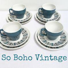 """#sobohovintage #midcenturyceramics #biltons #trios #teacups #saucers #teaplates #12pieces #forsale £20 plus p&p #midcenturyhomewares #midcenturydesign #vintage #retro #qualityvintage #findusonfb #findusonline www.sobohovintage.co.uk #borrowashvintage #derbyvintage #vintagederby #shopvintage #shoplocal"" Photo taken by @vintagelynz on Instagram"
