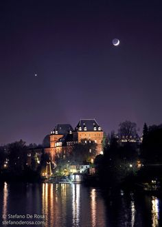 Moon and Venus over the Castle of Valentino