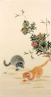 Chinese Cat Painting,55cm x 100cm,4340002-x