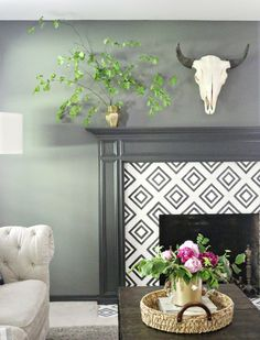 9 Effortless ideas: Living Room Remodel With Fireplace Painted Bricks livingroom remodel ideas.Livingroom Remodel Fireplace Update living room remodel before and after design. Paint Fireplace Tile, Painted Brick Fireplaces, Fireplace Set, Shiplap Fireplace, Modern Fireplace, Living Room With Fireplace, Fireplace Ideas, Fireplace Cover, Farmhouse Fireplace