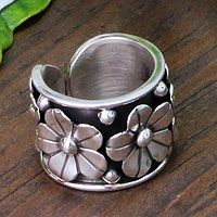 Silver floral ring, 'Baroque Bouquet' Silver Cuff, Silver Earrings, Silver Jewelry, Sterling Silver, Gold Jewellery, Jewelry Gifts, Unique Jewelry, Yoga Jewelry, Women Jewelry