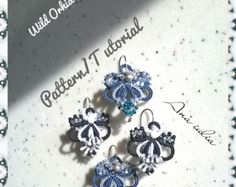 Items similar to Earrings tatting lace  frivolite.Kit  tutorial and material.Earrings frivolite pattern.Created by Emelie Zakh.Free shipping on Etsy