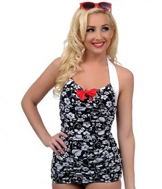 Vintage 1950s Style Pin Up Black & White Hawaiian Floral Leilani Halter Sheath Swimsuit
