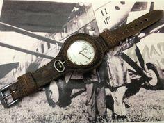 Voll Leder vintage Armband für Taschenuhr. 1914 style. Mod. für 48mm