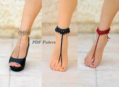 CROCHET barefoot sandals PATTERN Step-by-step instructions with clear detailed description and exellent images Barefoot Sandals Crochet, Bridal Sandals, Sandals Wedding, Bare Foot Sandals, Anklets, Diy Fashion, Crochet Patterns, Things To Sell, Heels