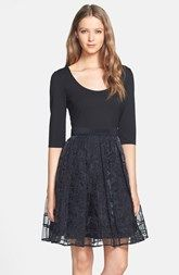 Plenty by Tracy Reese 'Eliza' Embroidered Organza Overlay Fit & Flare Dress (Regular & Petite)