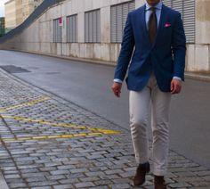 Blue Jacket, Tie, Khakis