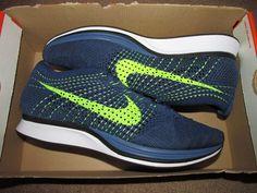 Nike Flyknit Racer Mens Running Shoes 9.5 Brave Blue Squadron Volt 526628 407 #Nike #RunningCrossTraining