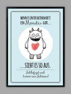 """""""SCHLAF+GUT""""+Kunstdruck,+Farbe:+blau+von+Smart-Art+Kunstdrucke+auf+DaWanda.com"""