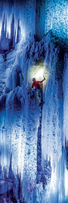Nice ice baby: Dani Arnold climbing Norway's Eidfjord. Image: © Mammut.