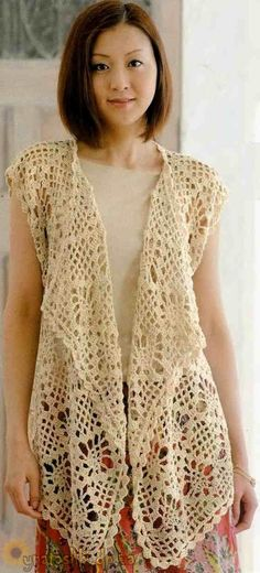 Crochet long beige vest ♥️LCT-MRS♥️ with diagrams.