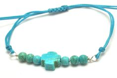 Turquoise cross bracelet, waxed cord bracelet, silver bracelet, adjustable and stackable bracelet, macrame bracelet, jewelry, favor by Tmlccreations on Etsy