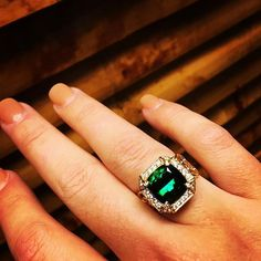 """#Didyouknow? In 1554 Francisco Spinoza's expedition discovered """"Brazilian emerald"""": the first recorded #greentourmaline crystal. #dropdeadgorgeous  #ericacourtney #showmeyourrings #jewelrystateofmind #couturedailydose #showyourcouture #lovegold #jewelry #jewelrydesign #jewels #diamond #diamonds #custom #love #stunning #beautiful #color #finejewelry #highendjewels #ringoftheday #dreamring #losangeles #gemstones #blingbling #wow #diamondjewelry #instajewels #diamondsareagirlsbestfriends"""