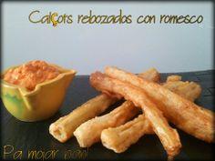 pa mojar pan!: Calçots rebozados con salsa romesco