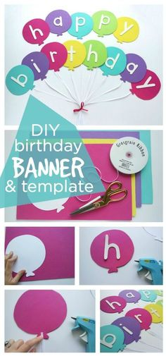 Happy Birthday Banner DIY Template - Festive happy birthday balloon banner with . Happy Birthday Banner DIY Template - Festive happy birthday balloon banner with easy steps and a free template Diy Birthday Sign, Happy Birthday Banner Printable, Birthday Banner Template, Happy Birthday Balloon Banner, Happy Birthday Signs, Diy Birthday Decorations, Birthday Party Themes, Birthday Banner Ideas, Happy Birthday Crafts