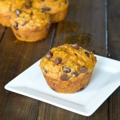 Healthy pumpkin muffins with lots of chocolate chips