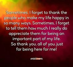 Sometimes I forget to thank...
