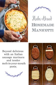 This make-ahead, Homemade Manicotti is beyond delicious with an Italian sausage marinara and tender melt-in-your-mouth pasta. #italianfood #manicotti #homemadepasta Lunch Recipes, Pasta Recipes, Beef Recipes, Breakfast Recipes, Chicken Recipes, Dinner Recipes, Cooking Recipes, Amazing Recipes, Yummy Recipes