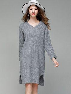 e417cc76473 Vinfemass Solid Color Loose Slit Side Jumper Sweater Dress