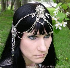 Custom Crystal Art Nouveau Mucha Rhinestone Headdress exclusive by Raven Eve Jewelry. $289.00, via Etsy.