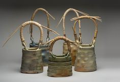 Barbara Banfield shares how to make cane handles for pottery. If you have ever thought about making cane handles, this post is what you need! Slab Pottery, Pottery Vase, Ceramic Pottery, Ceramic Techniques, Pottery Techniques, Ceramic Bowls, Ceramic Art, Cane Handles, Wheel Thrown Pottery