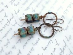Textile Cube Artisan Earrings//Contents Jewelry by ContentsJewelry